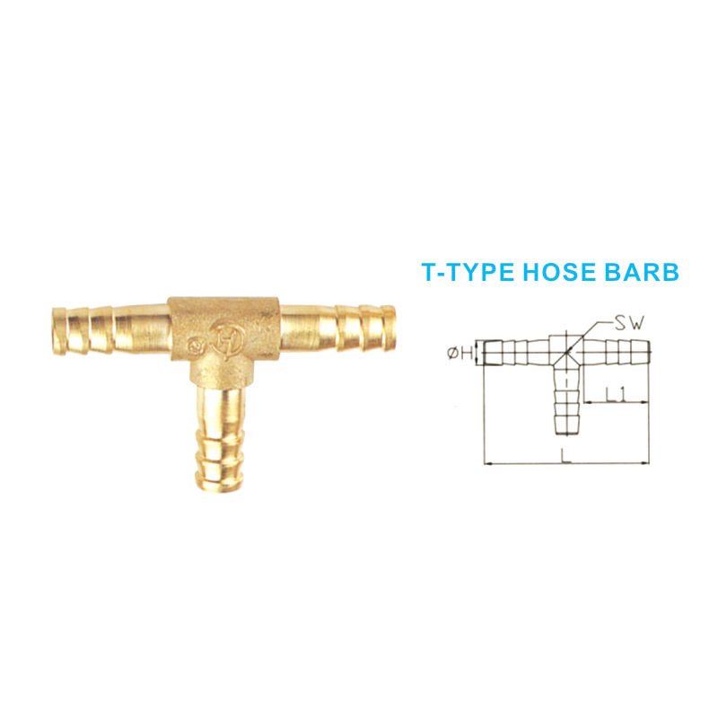 Cross type hose barb